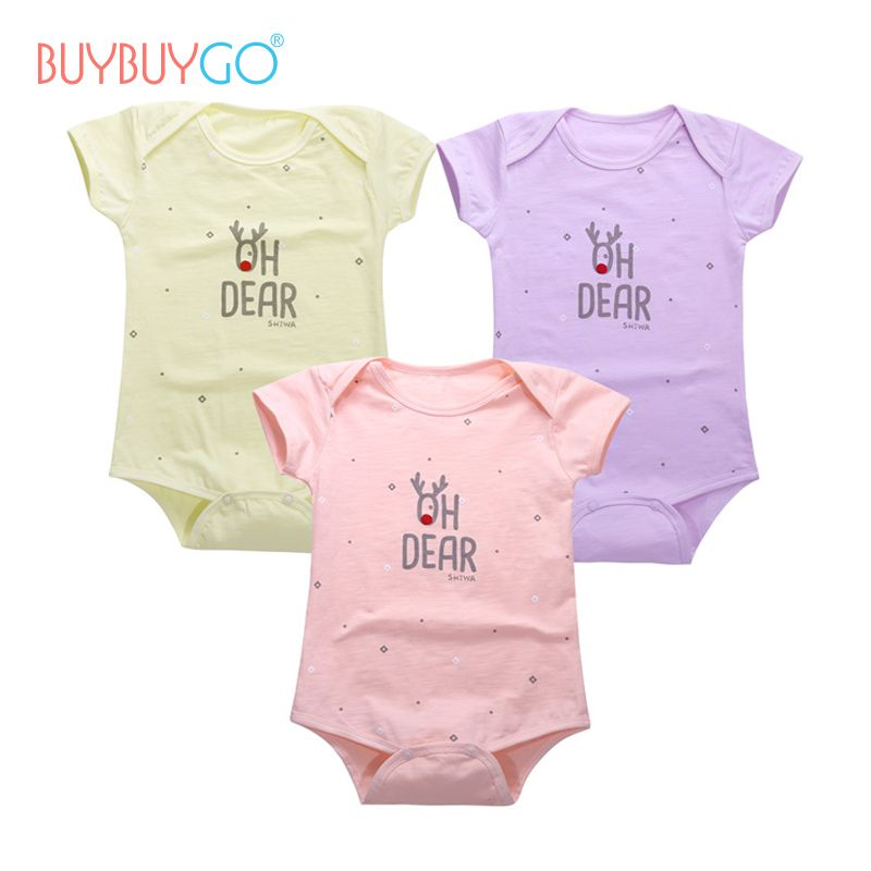 324f769ad69a 3pcs lot Baby Bodysuit One-Pieces Christmas Deer 2017 Summer Short ...