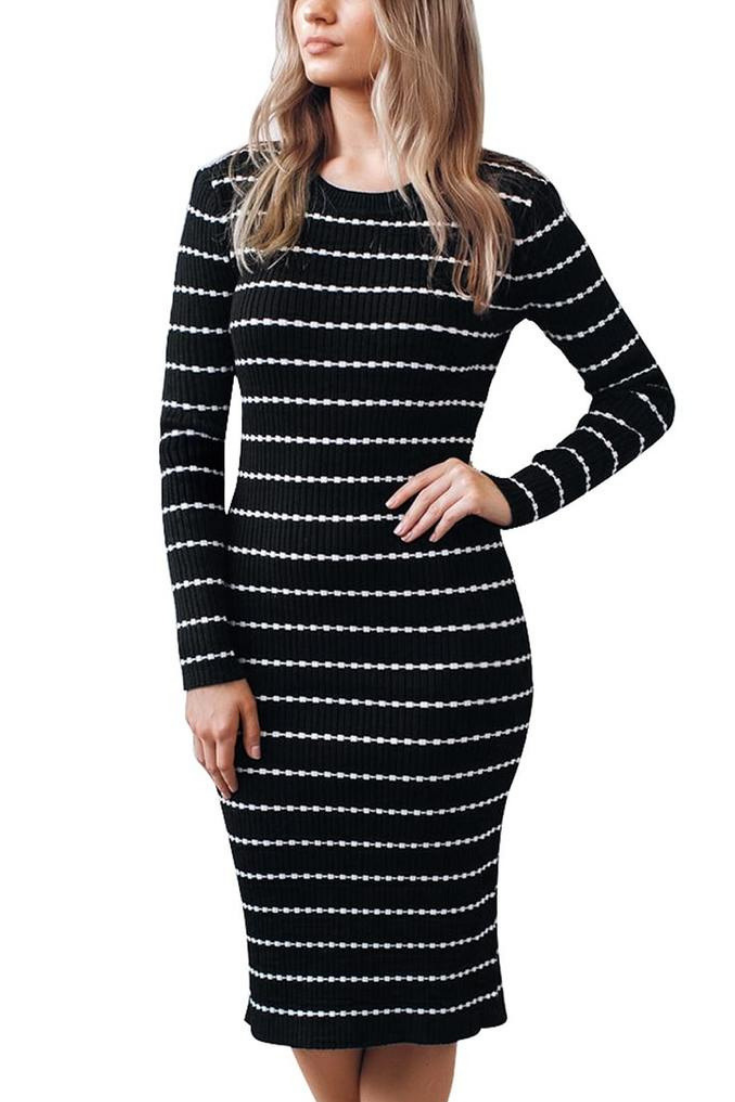 a9ec41baae What s New    Be a curvalicious babe this winter by choosing to wear this  sexy black ribbed knit striped bodycon dress.