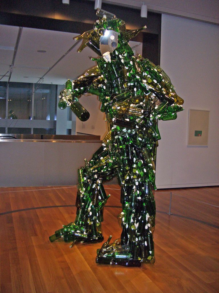 Bottle Man I Saw This At Sam It Looked Really Cool In Person Pcb Sculptures Artist Upcycles Old Circuit Boards Into Art