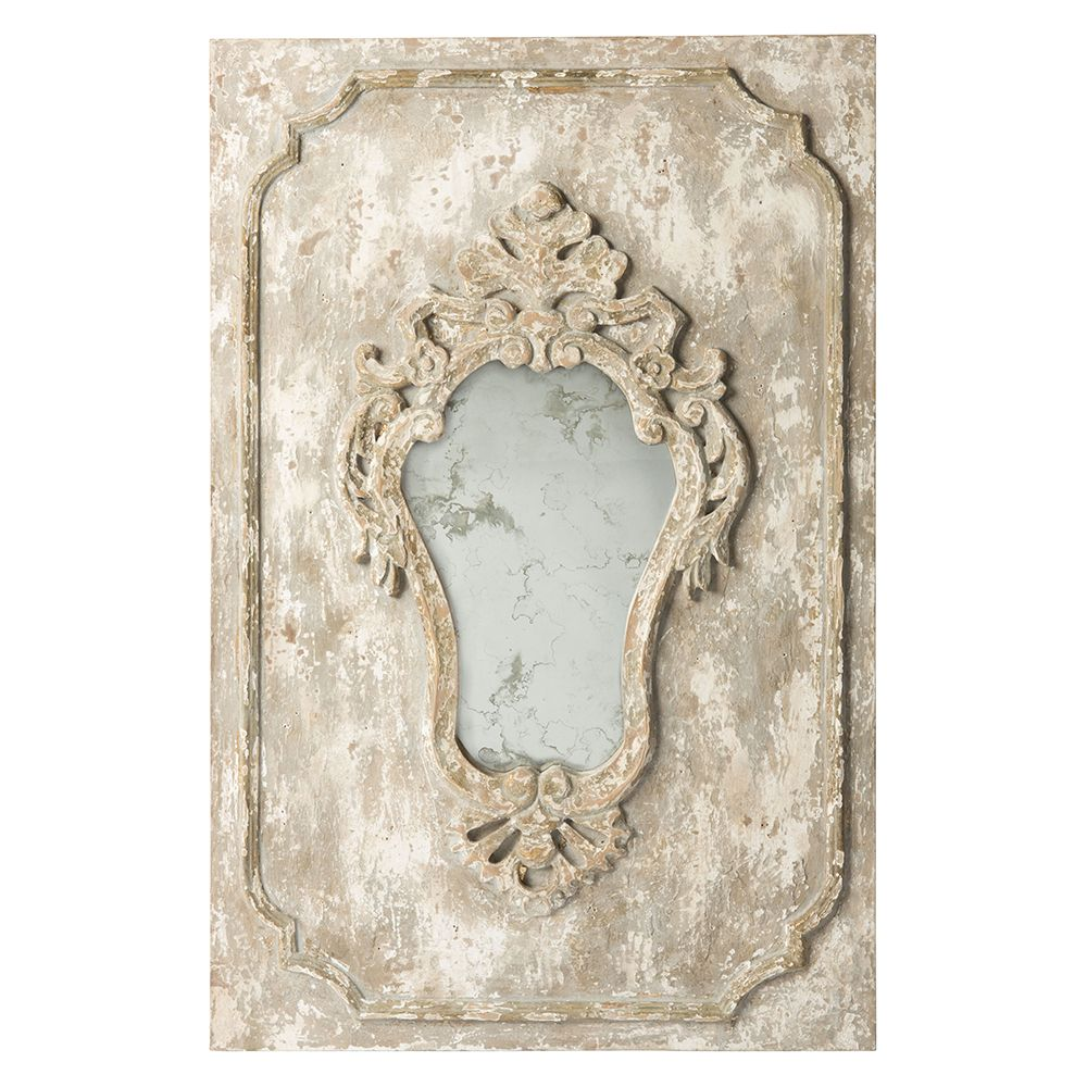 cream distressed vintage french mirror - vintage french   home