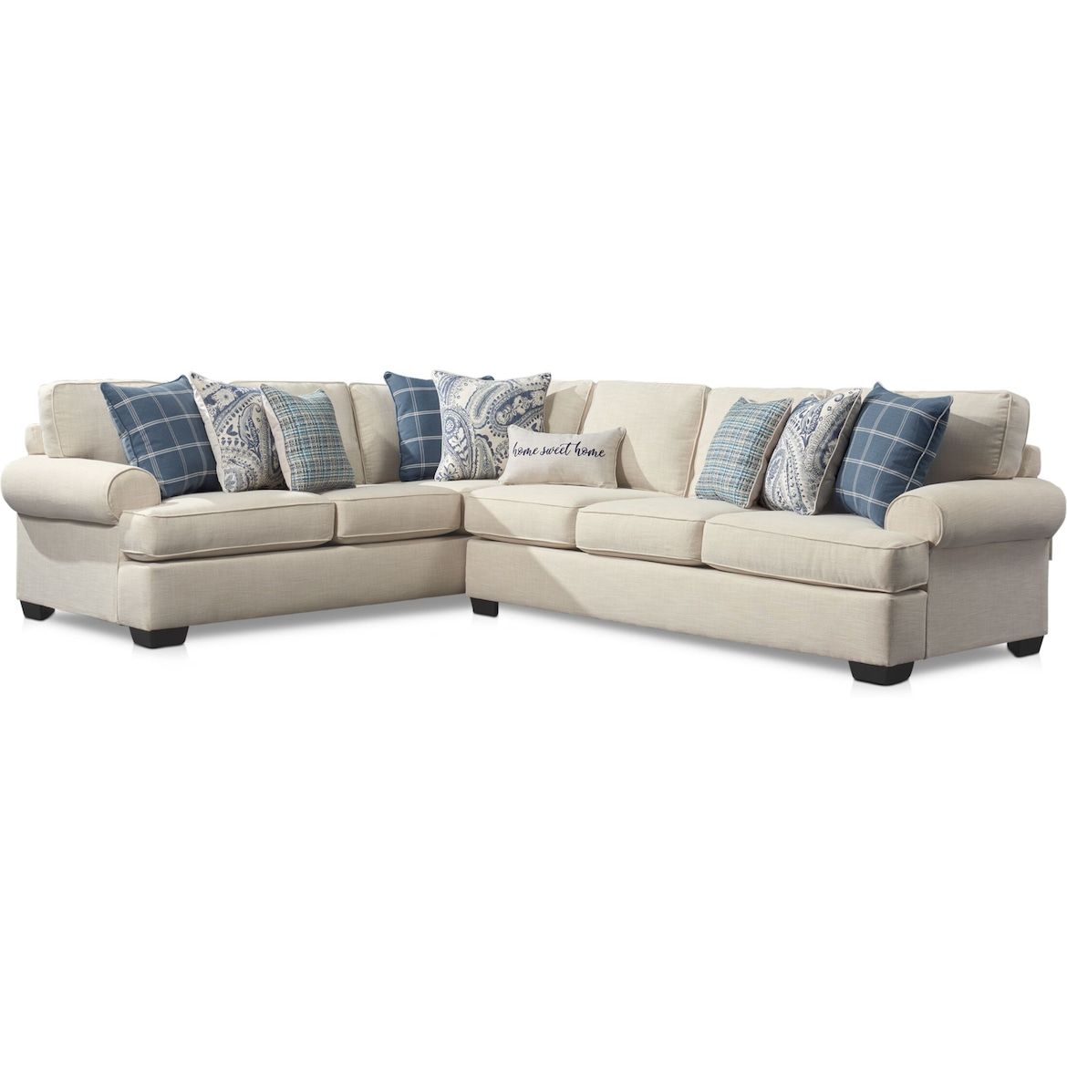 Riley 2 Piece Large Sectional Linen American Signature Furniture Value City Furniture Large Sectional City Furniture