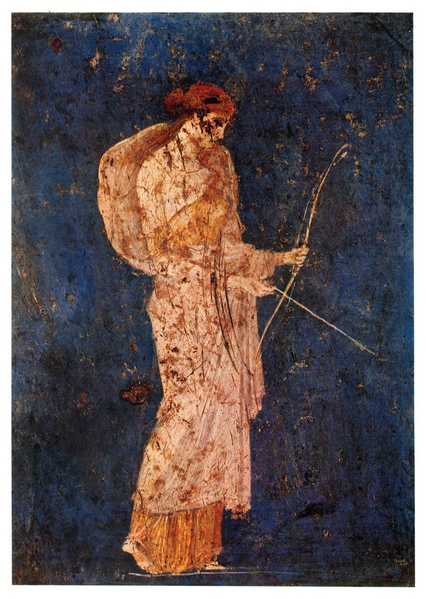 Diana the huntress, Fresco. Pompeii, Italy. 1st century A.D.