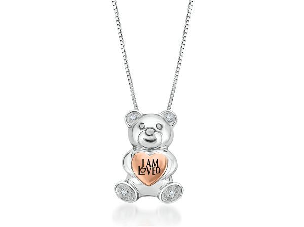 41887de1f HELZBERG DIAMONDS I Am Loved .03ct TW Teddy Bear Diamond Pendant ...