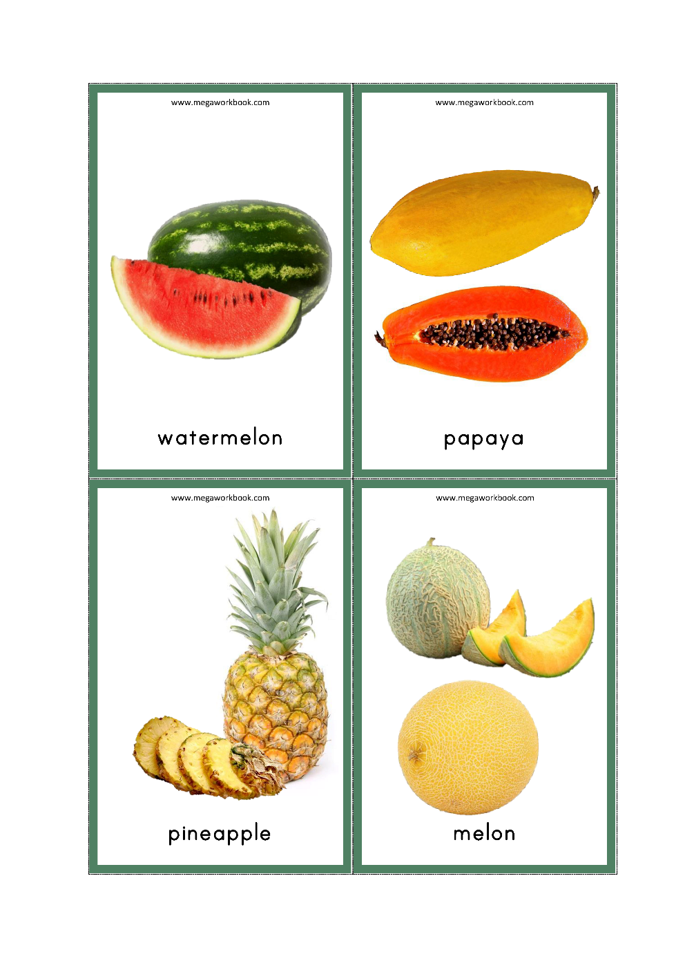 Free Printable Fruits Flashcards For Preschool And Kindergarten Kids Fruits Names With Picture Megawor Fruits For Kids Fruits Name With Picture Fruit Names