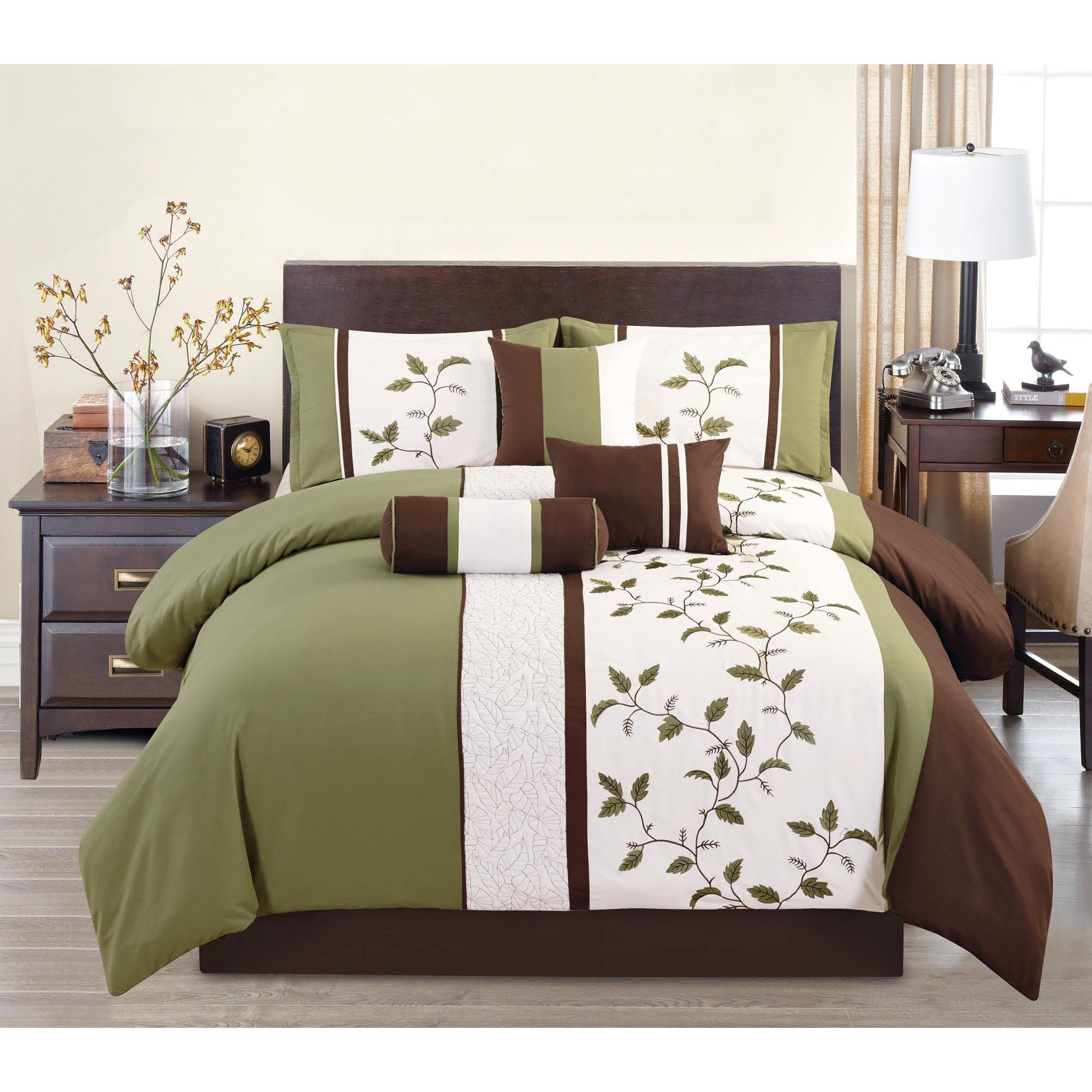 Woodchase Green Embroidery 7 Piece Comforter Set Queen Brown