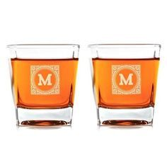 Personalize Classy set of heirloom pattern whiskey glasses for the perfect gift for your husband boyfriend groomsmen father or any man in your life Check it out
