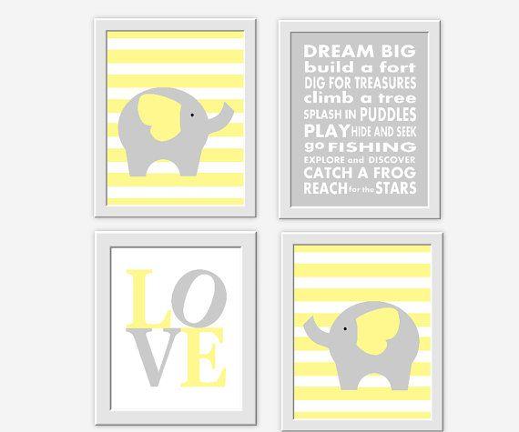 Elephant Baby Boy Nursery Wall Art Yellow by DezignerheartDesigns