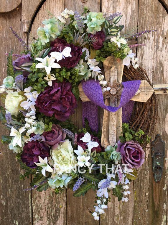 Religious Easter Cross Wreath Cross Wreath Religious Grapevine