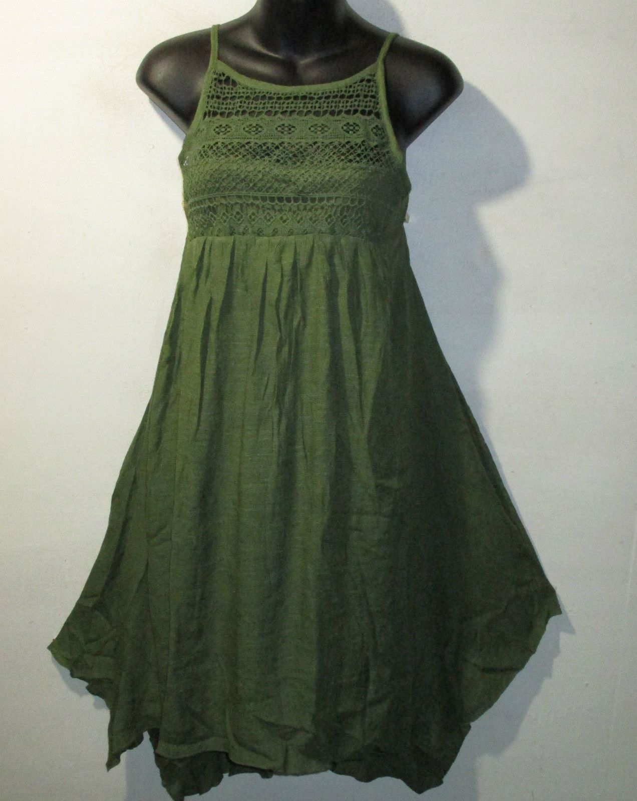 Dress x plus sundress green crochet lace chest racer back shark