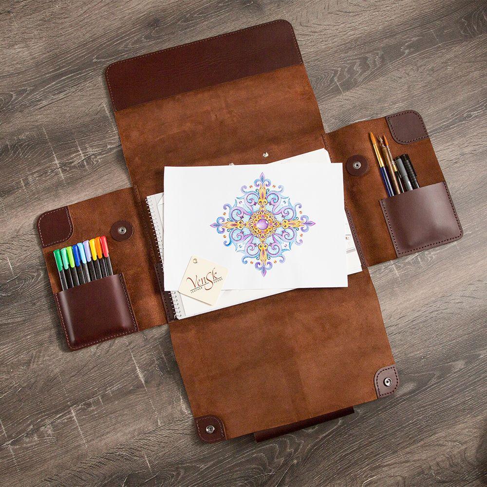 Leather folder for artist handmade leather folder for