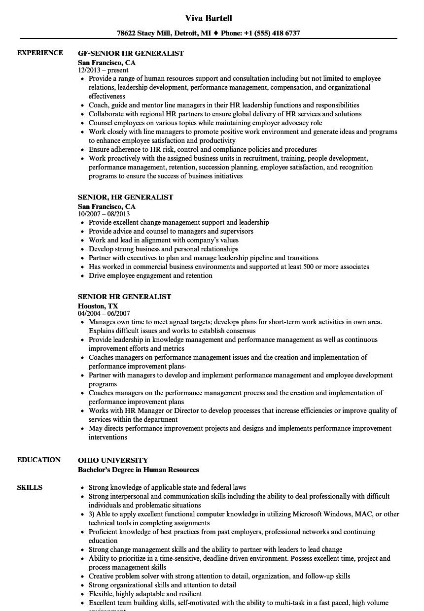 Human Resources Generalist Resume Unique Senior Hr Generalist Resume Samples Hr Resume Job Resume Examples Resume