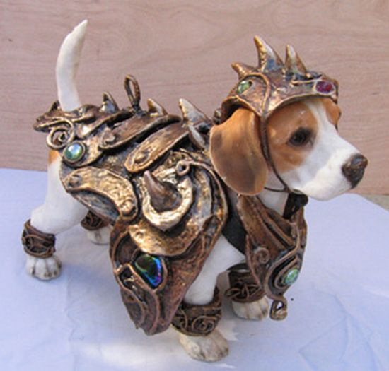 (not sure where I want to post this but very cute!) Yes, occasionally a beagle will need protection from sword thrusts, axe swings and hammer blows.
