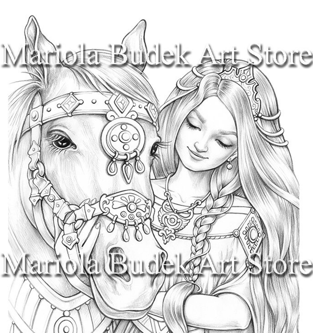 Anette Mariola Budek Premium Coloring Page Printable Etsy Coloring Pages Grayscale Coloring Drawings Of Friends [ 1064 x 1000 Pixel ]