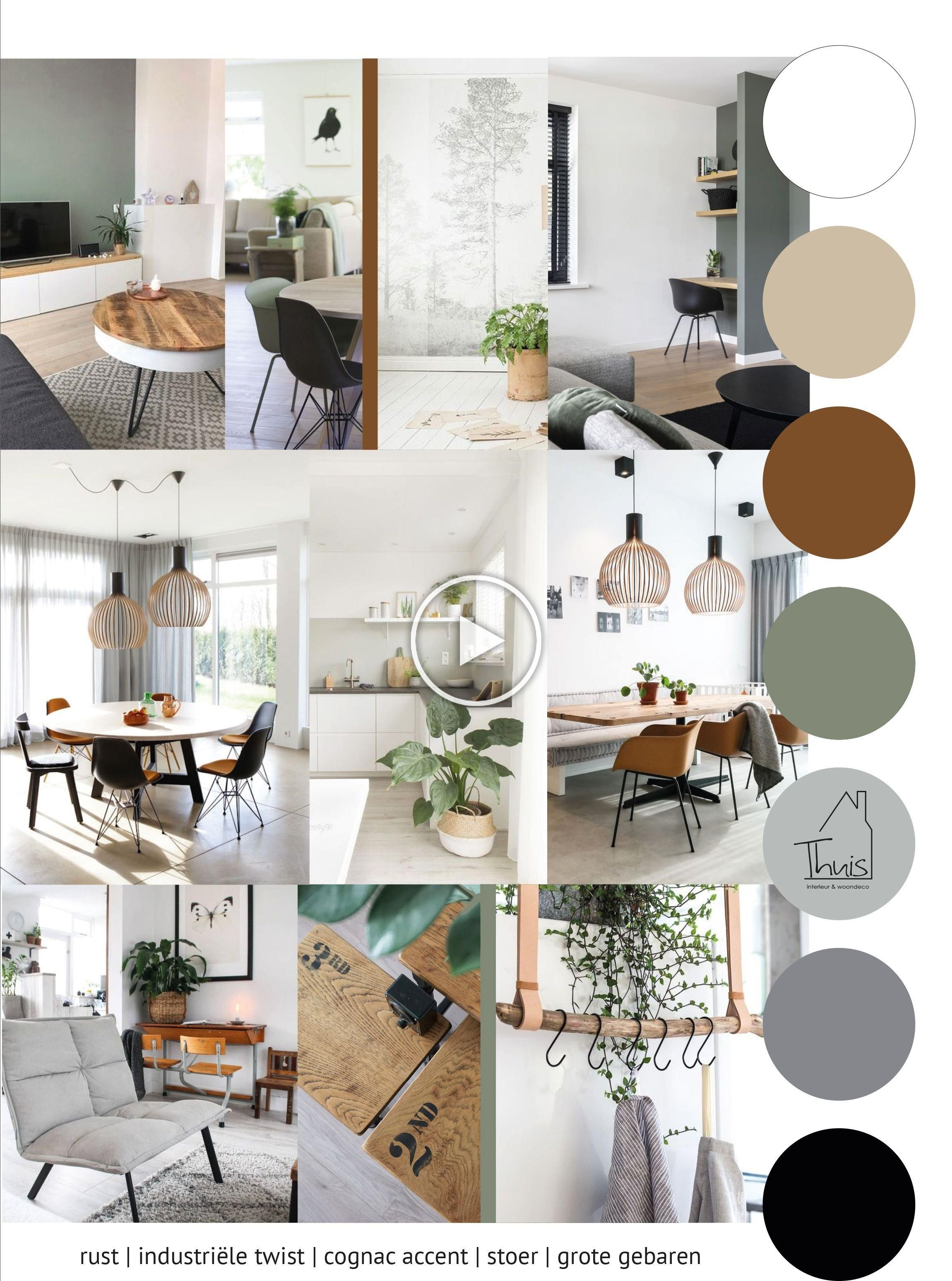 Industriele Twist Met Groen En Cognac Interior Paint Colors For Living Room House Color Schemes Interior Home