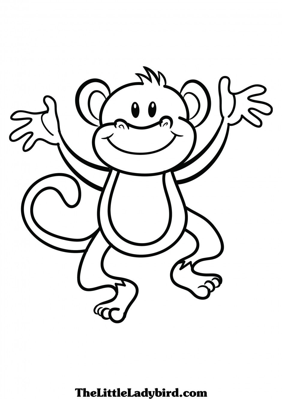 Cute Monkey Clip Art Black And White Coloring Pages