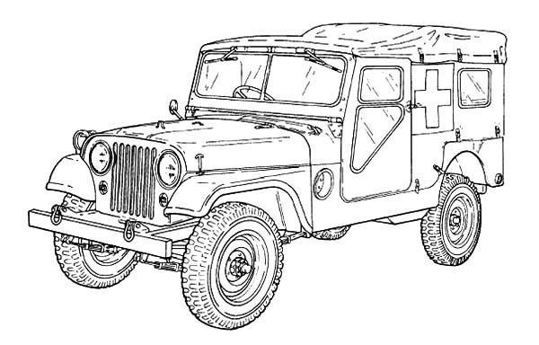 M170 Ambulance Army Car Coloring Pages1 | Car colors ...