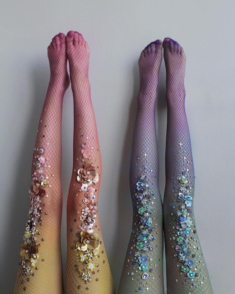 Glistening Jewel-Covered Tights Transform Mortal Legs into Mermaid Tails
