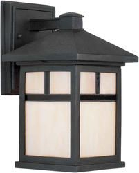 Photon 1 Light 10 Black Finish Incandescent Outdoor Wall Lantern With Honey Glass Craftsman Outdoor Lighting Outdoor Wall Lighting Black Outdoor Wall Lights