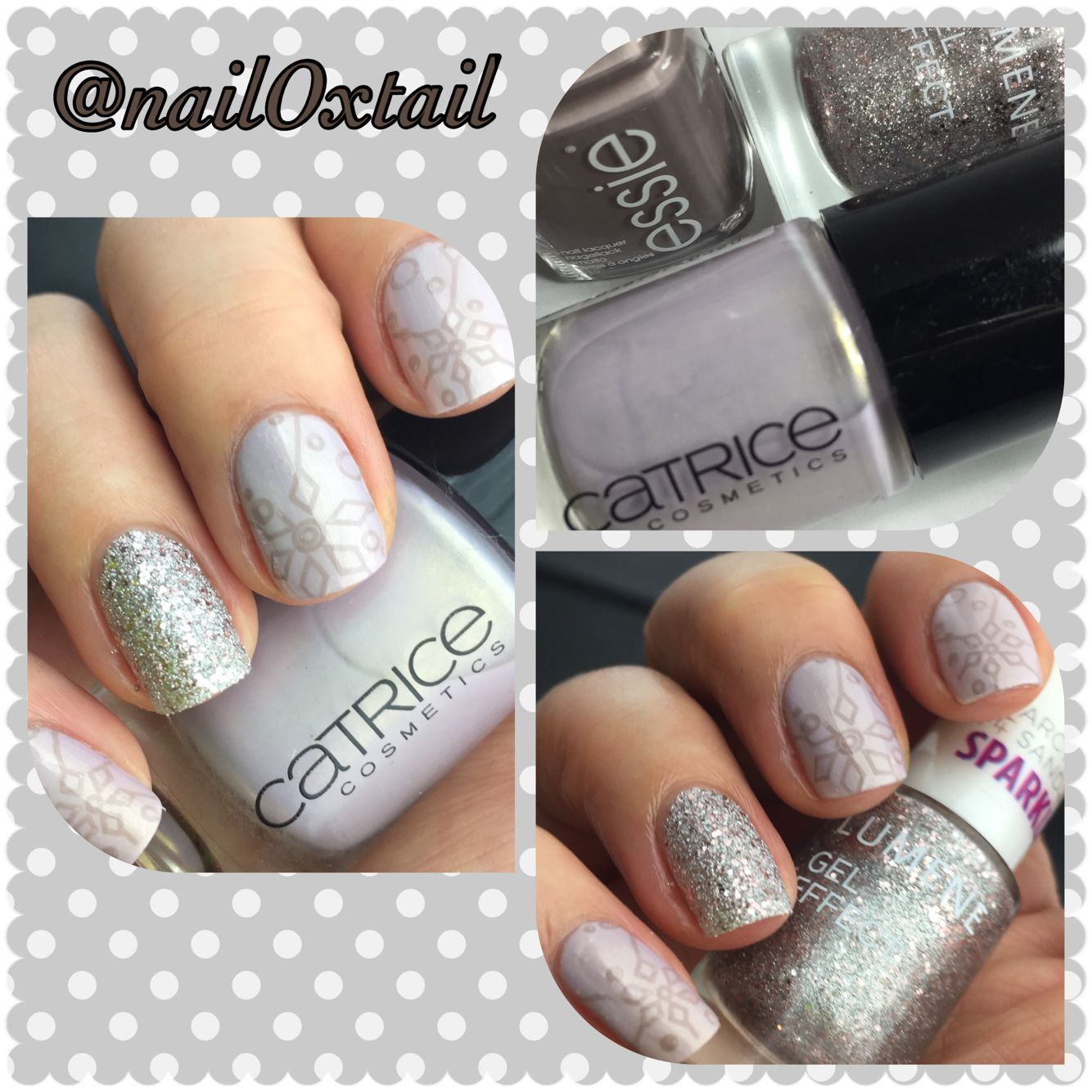 Lumene Silver Sand, Catrice Lilactric, Essie Chinchilly