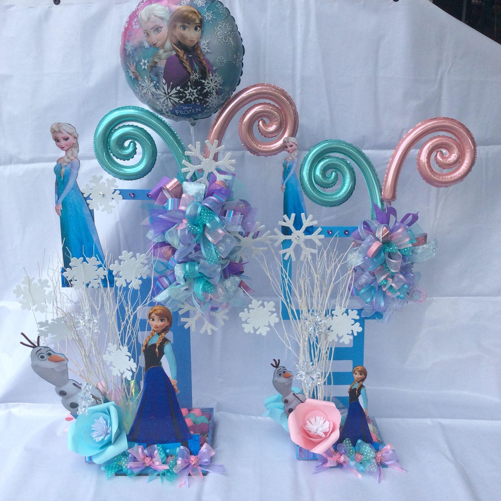 Centros de mesa frozen globos pinterest centro de for Centros de mesa de frozen