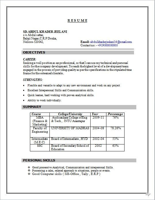 Resume Format For 5 Years Experience In Marketing #experience