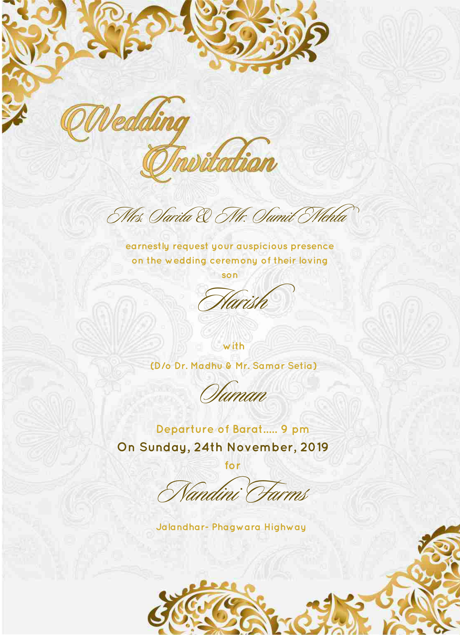 E Invite Royal White And Gold Design 2019 Make Wedding Invitations Wedding Invitations Online Digital Wedding Invitations Marriage Invitations