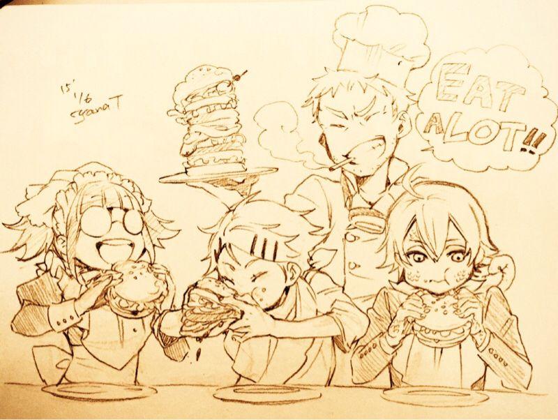 The Phantomhive servants enjoying lunch (Mey-Rin, Finny, Baldroy, and Snake) Sketch by Yana Toboso