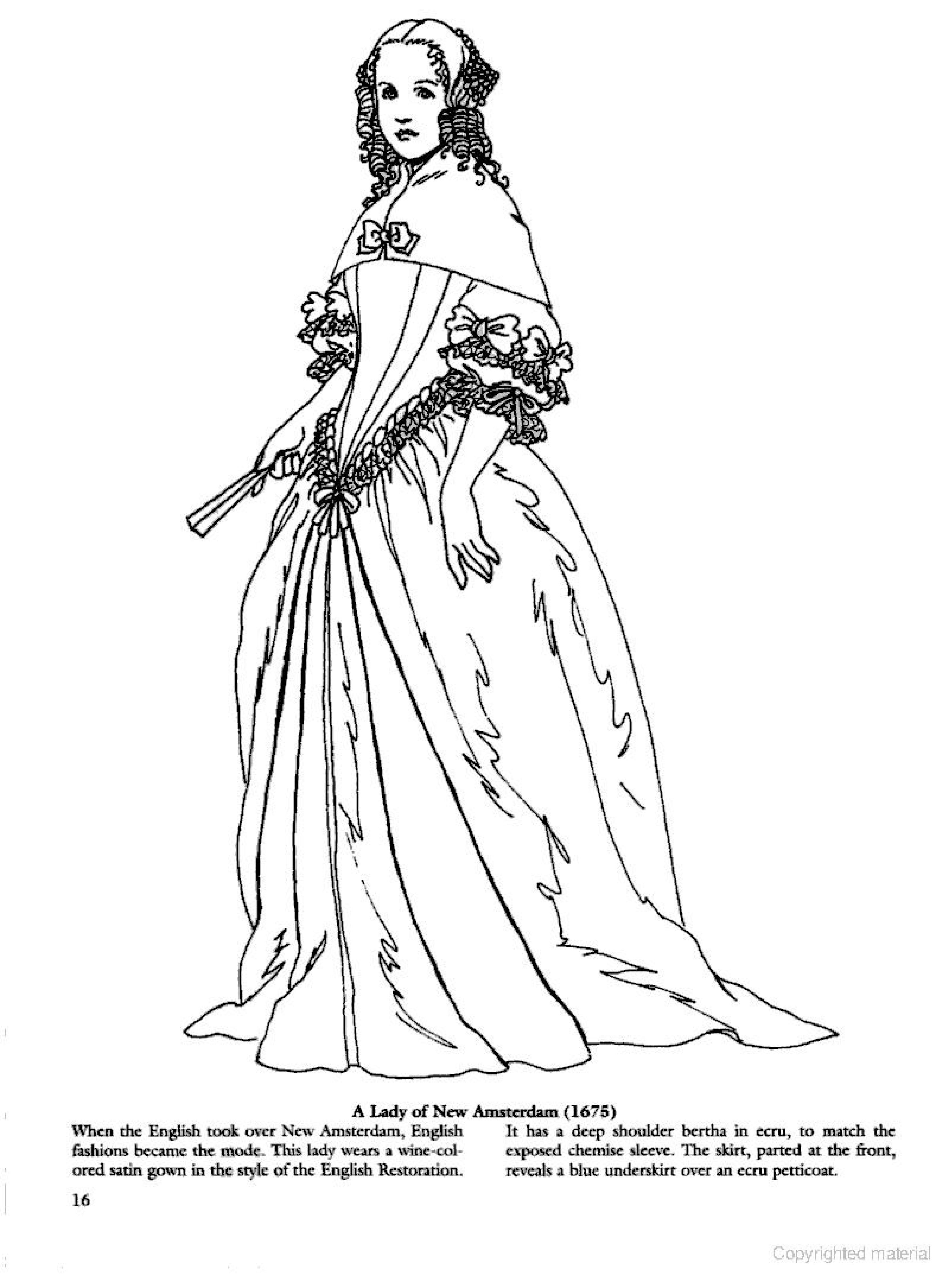 Colonial And Early American Fashions Coloring Page Colorful Fashion Fashion Books Baroque Fashion