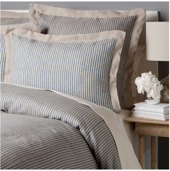 The Bethany Collection Is Made Of 100 Linen With Steel Blue Stripes Over A Natural Base And A Solid Natu Duvet Cover Sets King Duvet Cover Sets Duvet Covers