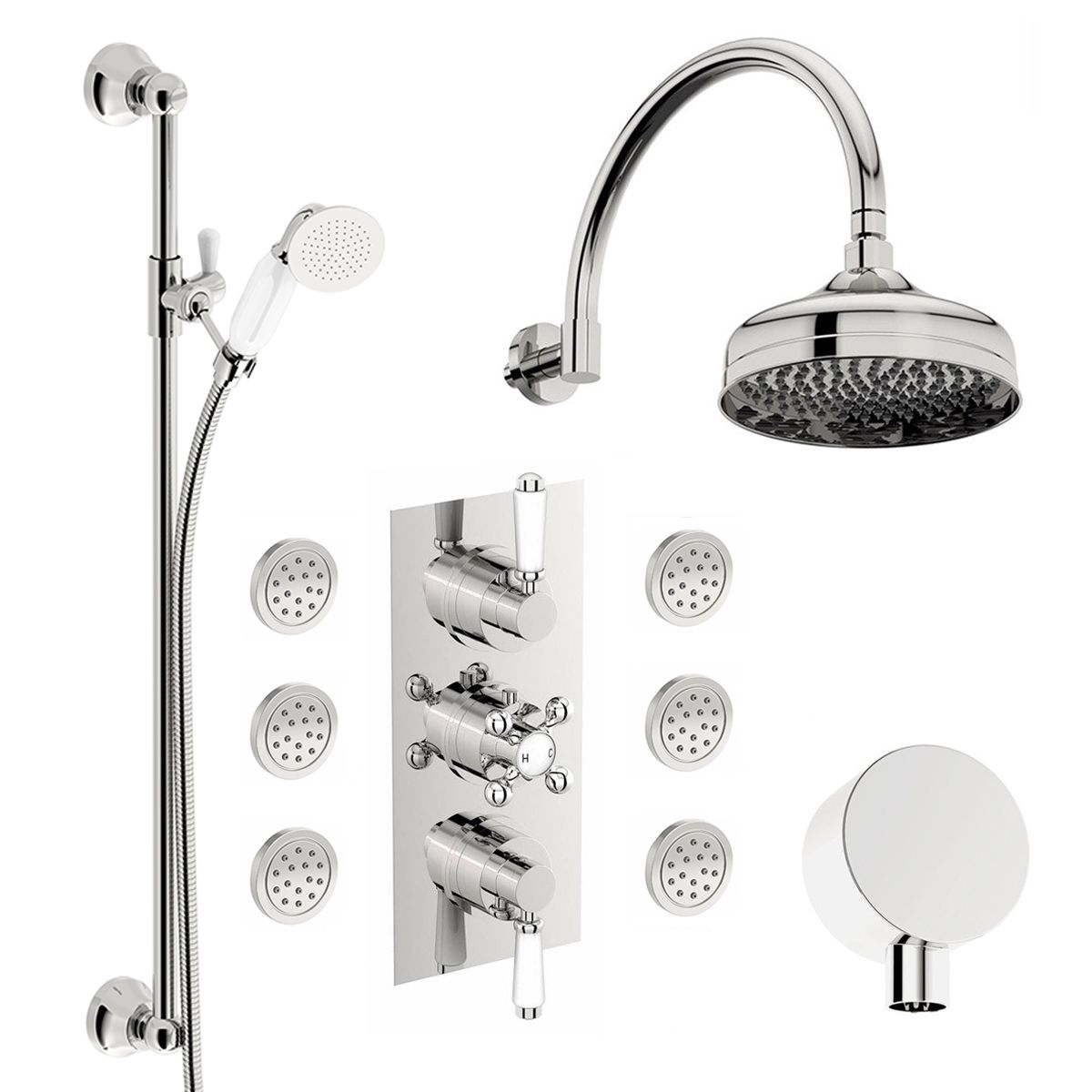 The Bath Co. Traditional thermostatic triple diverter shower valve ...