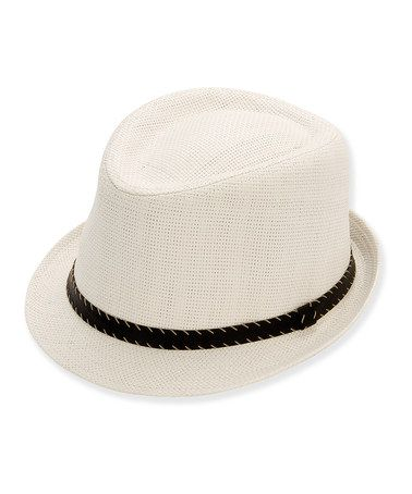 Another great find on #zulily! White & Faux Leather Trim Straw Fedora by Sun 'N' Sand #zulilyfinds