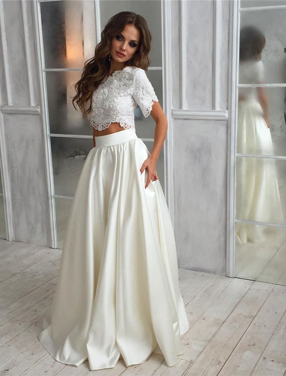 Elegant 2 Pieces Wedding Dresses With Short Sleeves Pockets Wedding Short Sleeve Wedding Dress Wedding Dress With Pockets Spring Wedding Dress