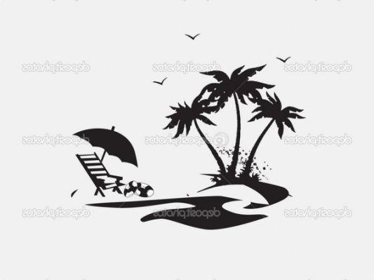 beach chair silhouette | Silhouette | Beach silhouette ...