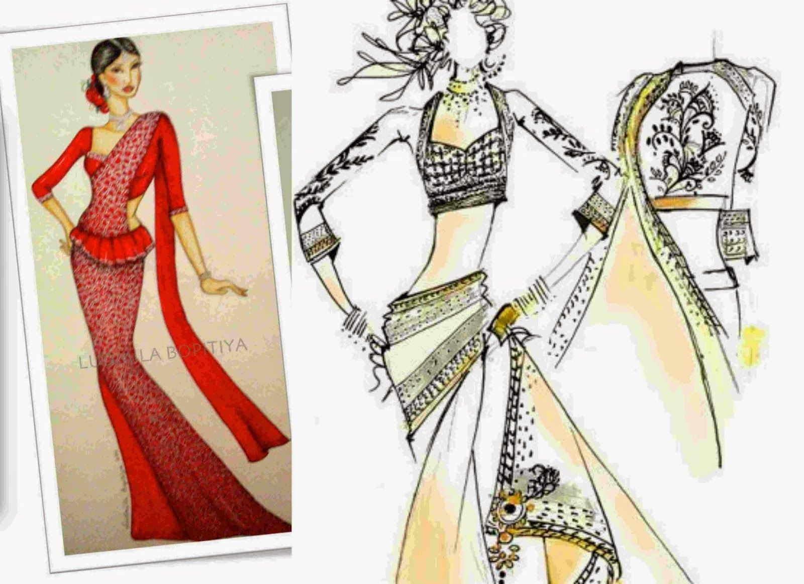 Funky fashion sketches of dresses