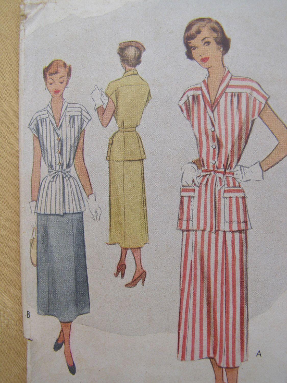 1949 Due pezzi McCall vestito abito con cravatta cintura cartamodello 7620, dimensioni 16, busto 34, Uncut di DiscoDivasVintage su Etsy https://www.etsy.com/it/listing/155560624/1949-due-pezzi-mccall-vestito-abito-con