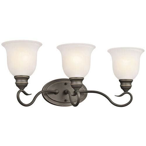 Photo of Kichler 45903OZ Tanglewood wall lamp with three lights on the wall in old bronze, transition | Bellacor