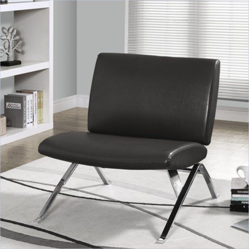 Modern Accent Chair In Charcoal Gray Faux Leather And Chrome I