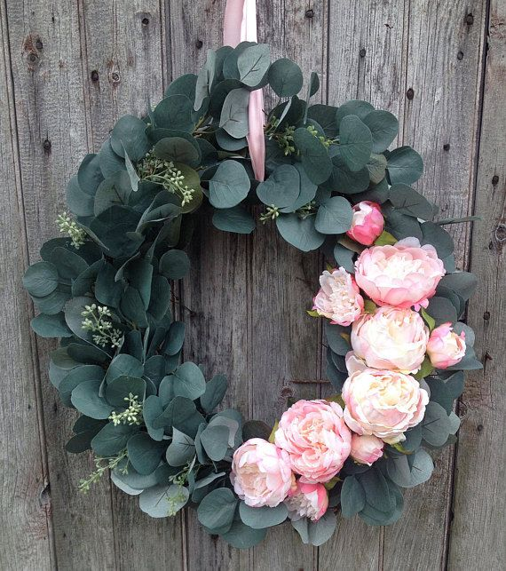 Photo of Eucalyptus wreath, eucalyptus peony spring wreath, summer wreath, year-round decor, Mother's Day, Easter, farmhouse decor, French country