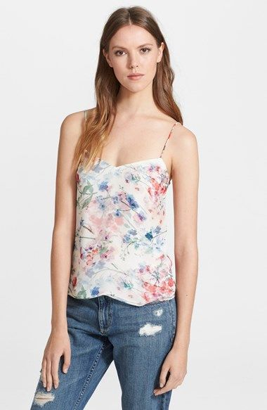 Theory 'Vaneese' Floral Print Silk Tank available at #Nordstrom