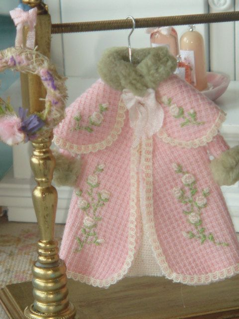 Girl embroidered coat on hang for dollhouses. 1:12 scale