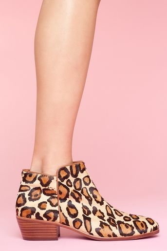 Petty Leopard Boot // Totally rad leopard pony hair ankle boots featuring a rounded toe and stacked wooden heel. Side zip closure. Genuine leather lining, cushioned insole. Looks perfect paired with anything and everything! By Sam Edelman.