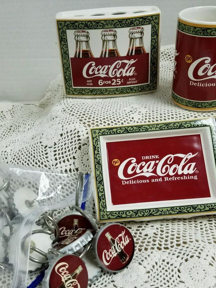 Coca Cola Coke Bathroom Set Soap Dish Toohbrush Holder Drink Glass Shower Hooks #CocaCola