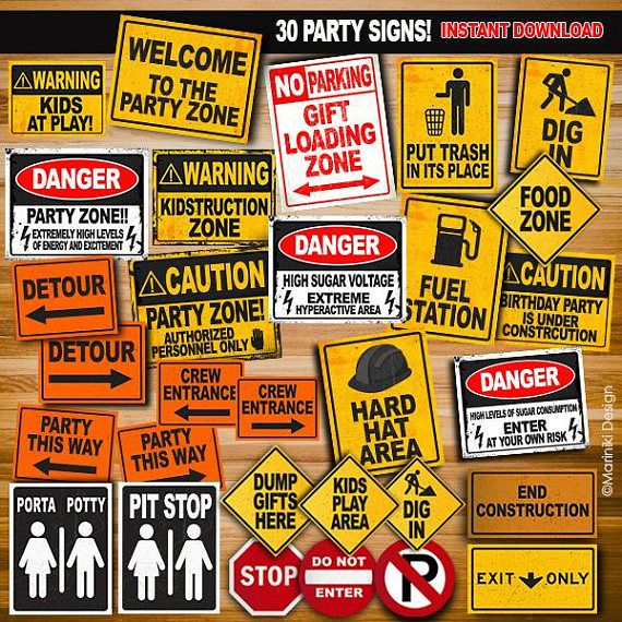 Construction Party Signs, Construction Birthday Party, Construction ...