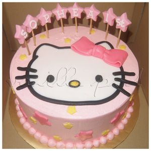 A Buttercream Birthday Cake With Hello Kitty Theme And Pop Up StarsFor Orders Or