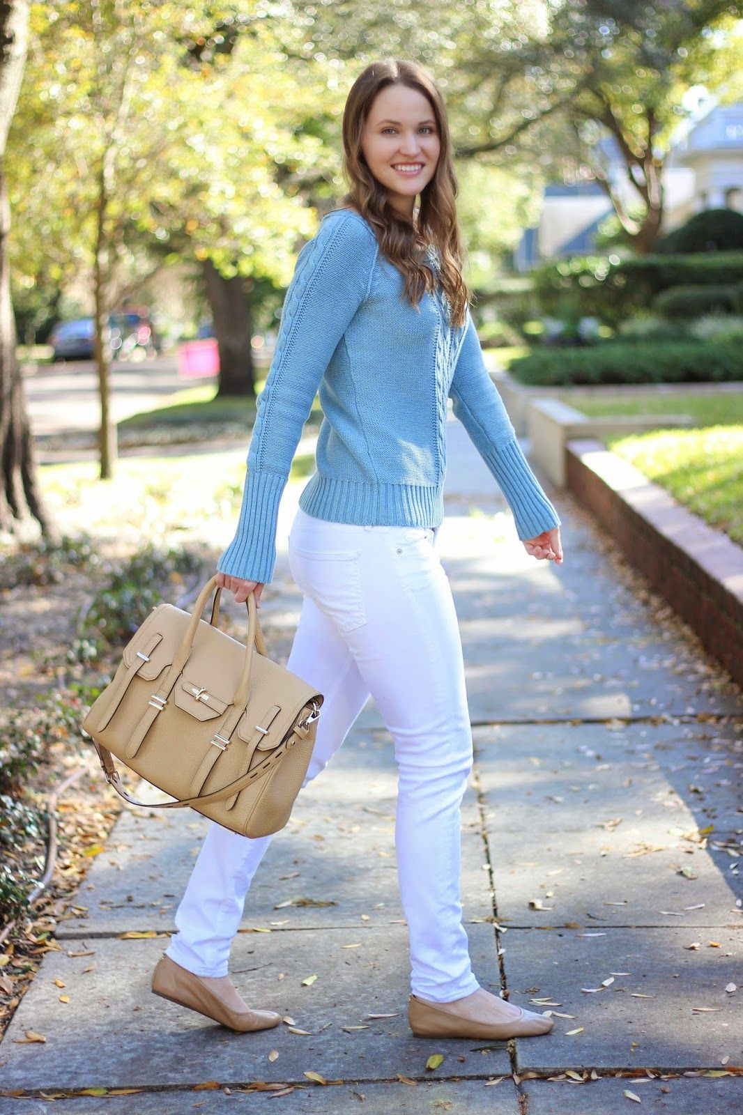 Kelly Elizabeth Style: Blue Sweater - blue chunky cable knit sweater: American Eagle; white jeans: Citizens of Humanity; bag: Jules Satchel in Biscuit by Rebecca Minkoff; nude ballet flats: Sam Edelman; lip gloss: Blushing Bride by Tarte