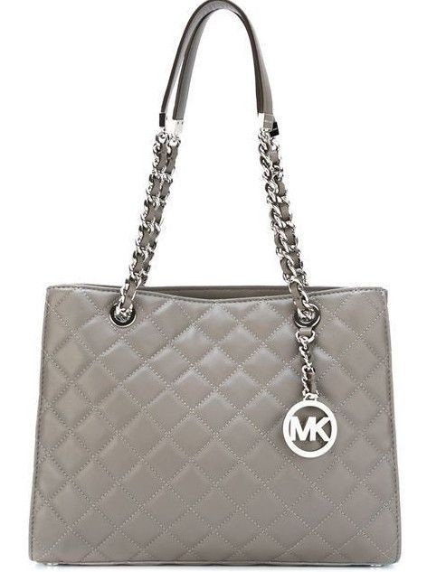 e0cee47995e86b NWT Authentic Michael Kors Susannah Quilted Leather Large Tote Bag ~Steel  Grey #MichaelKors #TotesShoppers