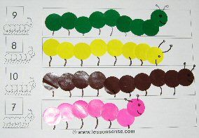 caterpillar counting- I'd use colored sticker dots or bingo pens for this!