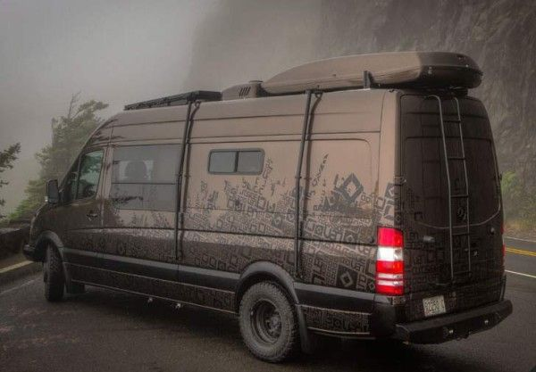 Outside van brown pow custom camper gear hauler mercedes for Mercedes benz sprinter 4x4 motorhome