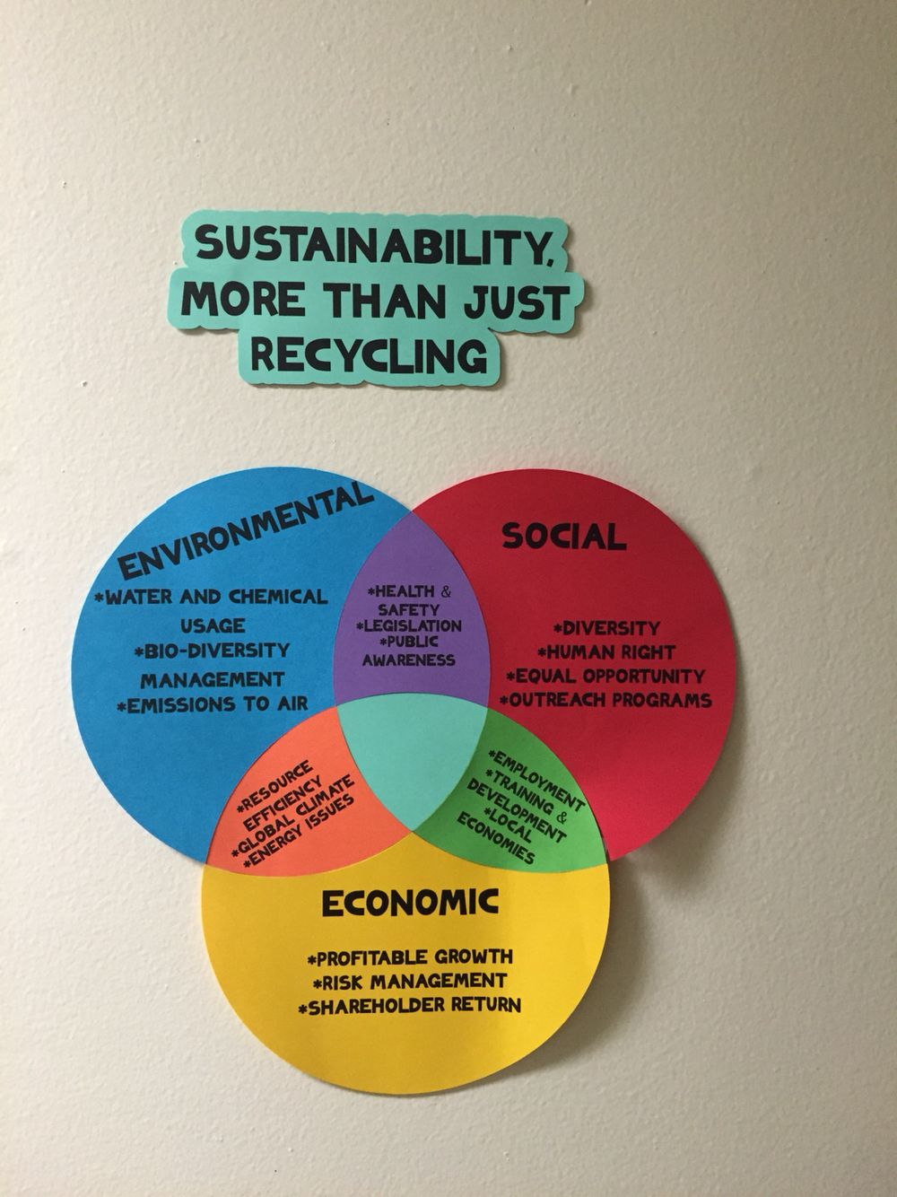 "Triple Bottom Line Sustainability ""Bulletin Board"" RALife"