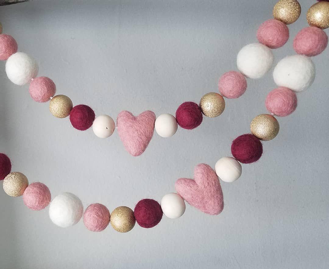 Felt Ball Garland Valentines Day Felt Ball Garland LOVE Felt Ball and Letter Garland Valentines Banner Garland Valentine/'s Day Sign